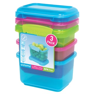 Sistema 1544 Snack Pack 3-count Assorted Colors