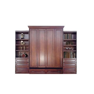 Queen Paris Murphy Bed with Two Drawer Bookcases in Cherry Finish