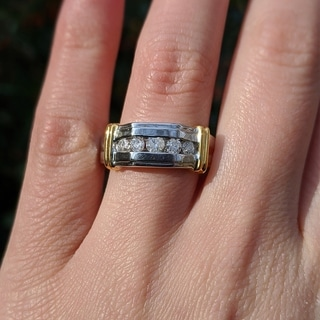 TwoBirch 10k Solid Gold Unique Mens Ring Or Unique Mens Fashion Ring With White Sapphire 0 5 Cts