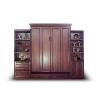 Queen Paris Murphy Bed with Door and Drawer Bookcases in Cherry Finish