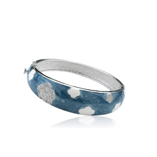 Riccova Country Chic 14K Gold-plated and Rhodium-plated Brass Blue Denim Bangle with White Enamel Flowers