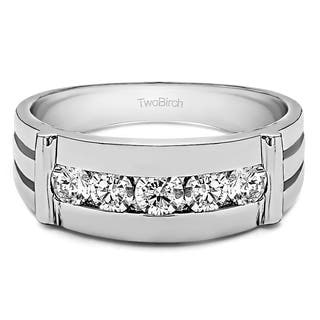 TwoBirch 14k White Gold Men's 1/5ct TDW Diamond Channel-set Ring|https://ak1.ostkcdn.com/images/products/12516475/P19322557.jpg?impolicy=medium