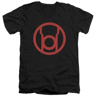 Green Lantern/Red Emblem Short Sleeve Adult T-Shirt V-Neck in Black