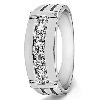TwoBirch Sterling Silver Channel-set Men's 1/5ct TDW Diamond Ring (G-H, I2-I3)