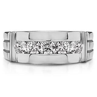 Sterling Silver Channel-set Men's 1/5ct TDW Diamond Ring (G-H, I2-I3)