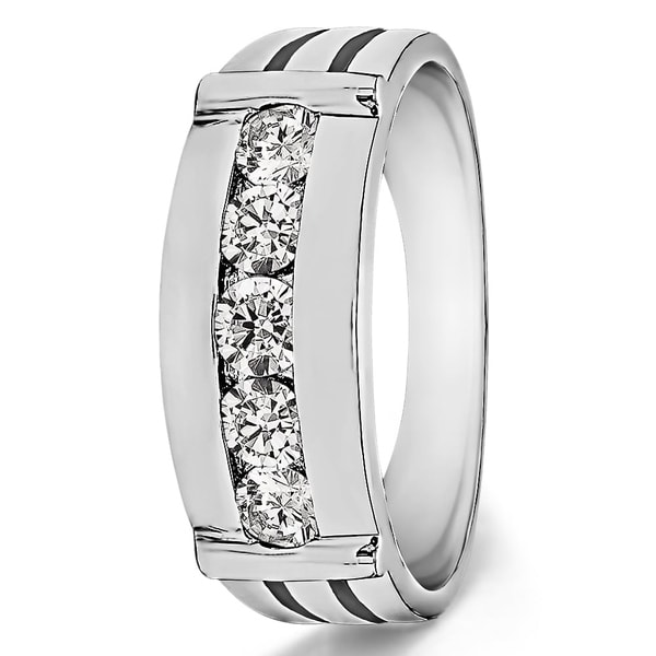 TwoBirch Sterling Silver Channel Set Men's 1/5ct TDW Diamond Ring