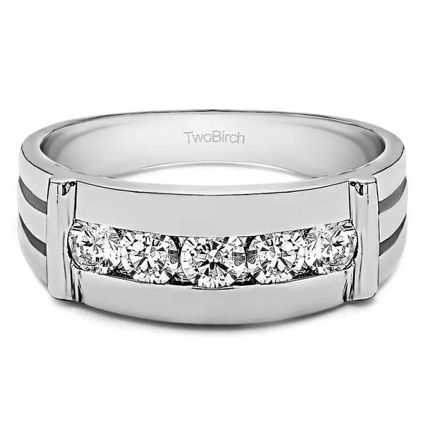 TwoBirch Sterling Silver Channel Set Men's 1/5ct TDW Diamond Ring