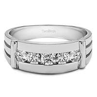 TwoBirch Sterling Silver Channel Set Men's 1/2ct TDW Diamond Bar Ring
