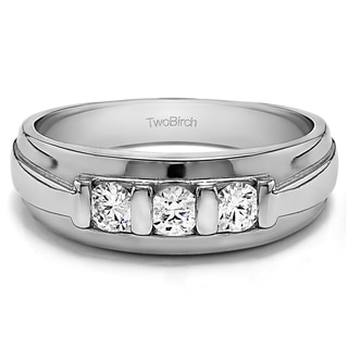 10k White Gold Unique Three Stone Men's Fashion Ring or Mens Wedding Band With White Sapphire (0.24 Cts., colorless, N/A)