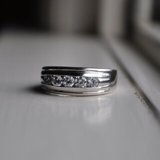 TwoBirch 14k White Gold Classic Mens Ring or Mens Wedding Ring with Designer Shank With Diamonds