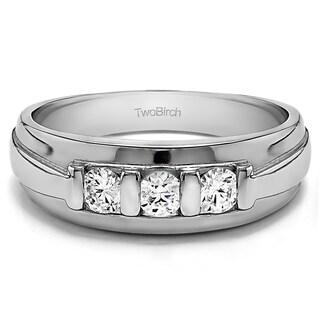 14k White Gold Men's 1/2ct TGW Sapphire Unique 3-stone Fashion Ring