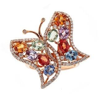 Anika and August 18k Rose Gold Multi-gemstone and 3/4ct TDW Diamond Ring (G-H, I1-I2)