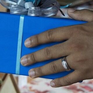 14k White Gold Men's 1ct TGW White Sapphire Ring