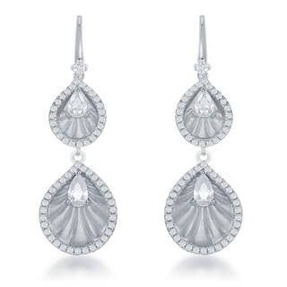 La Preciosa Sterling Silver Cubic Zirconia-accented Double Teardrop Dangling Earrings