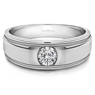 14k White Gold Men's 1/4ct TDW Diamond Brushed Center Ring (G-H, SI1-SI2)