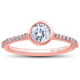 14k Rose Gold 3/4ct TDW Charlotte Lab Grown Eco Friendly Diamond Engagement Ring (F-G,SI1-SI2)