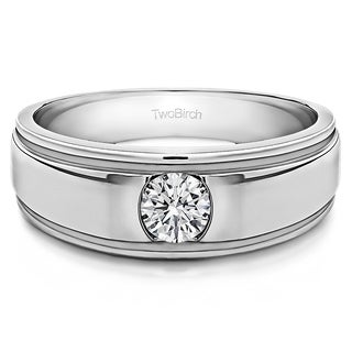 TwoBirch Sterling Silver Brushed Center Men's Ring With One Round Stone With Diamonds (G-H,I2-I3) (0.25 Cts.,