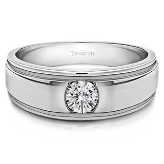 Sterling Silver Men's 1/4ct TDW Diamond Brushed Center Ring (G-H, I1-I2)