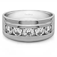 TwoBirch Sterling Silver Men's 1/4ct TGW White Sapphire Classic Wedding Ring