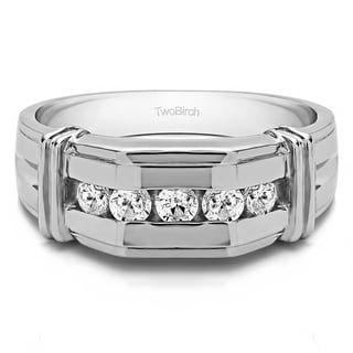 TwoBirch Sterling Silver Men's 1ct TDW Diamond Channel-set Ring