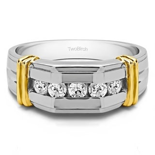 Sterling Silver Channel Set Men's Ring With Bars With White Sapphire (0.36 Cts., colorless, N/A)