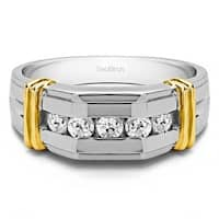 TwoBirch Sterling Silver Channel Set Men's Ring With Bars With White Sapphire (0.36 Cts.)