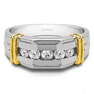 TwoBirch Sterling Silver Channel Set Men's Ring With Bars With White Sapphire (0.36 Cts., colorless, N/A)