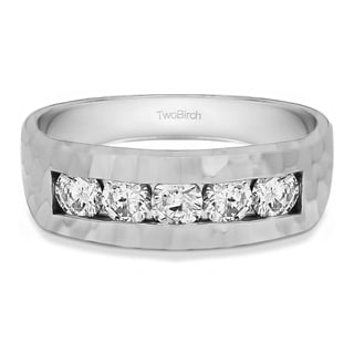 14k White Gold Channel Set Men Wedding Ring with Hammered Finish With Diamonds (G-H,SI2-I1) (0.75 Cts., G-H, SI2-I1)
