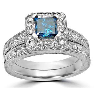 Noori 14k Gold 1 1/2ct TDW Blue Princess-cut Diamond Halo Engagement Ring Set
