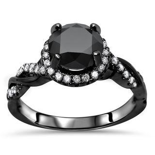 Noori 14k Black Gold 1 1/2ct TDW Round Halo Black Diamond Engagement Ring (F-G, SI1-SI2)