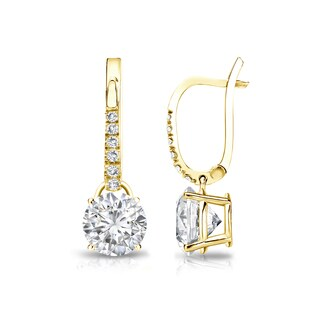 Auriya 14k Gold 1 1/4ct TDW Round-Cut Diamond Dangle Earrings