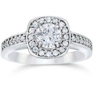 14k White Gold 1ct TDW Cushion Halo Diamond Engagement Ring