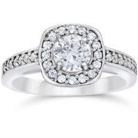 14k White Gold 1ct TDW Cushion Halo Diamond Engagement Ring