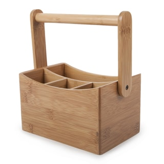 "Core Home CTLH-355 9"" X 4.8"" X 6.5"" Natural Core Bamboo Cutlery Caddy"