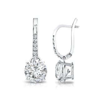Auriya 14k Gold 2ct TDW Round Cut Diamond Dangle Earrings (H-I, SI1-SI2)