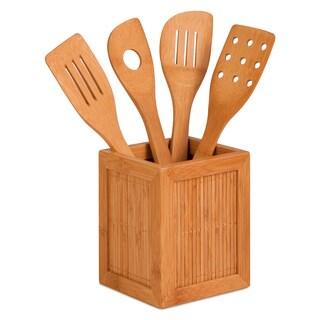 Honey Can Do KCH-01080 Bamboo Utensil Caddy With Four Utensils