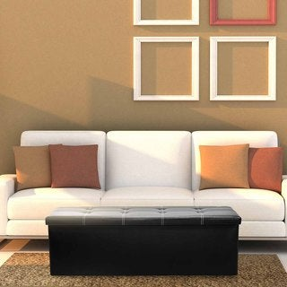 Sorbus Black Faux-leather Folding Storage Ottoman Chest Bench