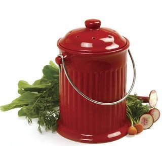 Norpro 93R 1 Gallon Red Ceramic Compost Keeper Crock