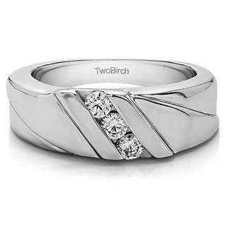 14k White Gold Men's Wedding Ring or Fashion Ring With Diamonds (G-H,SI2-I1) (0.33 Cts., G-H, SI2-I1)