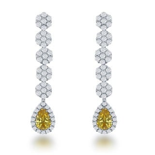 La Preciosa Sterling Silver and Yellow Cubic Zirconia Teardrop Drop Earrings