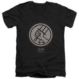 Hellboy Ii/Mignola Style Logo Short Sleeve Adult V-Neck in Black