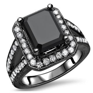 Noori 14k Black Gold 3 3/4 TDW Black and White Diamond Emerald-cut Engagement Ring (F-G, SI1-SI2)