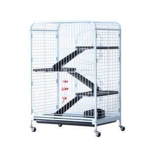 Pawhut White Metal/Plastic 37-inch 4-level Indoor Small Animal Cage Hutch