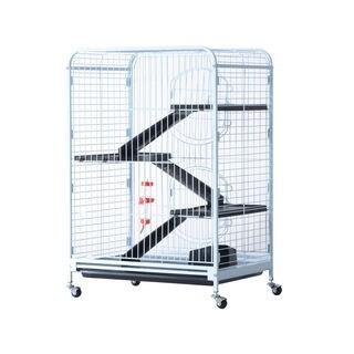 "Pawhut White Metal/Plastic 37"" 4-level Indoor Small Animal Cage Hutch"