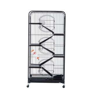 "Pawhut 52"" Black 6-level Indoor Small Animal Cage Hutch"