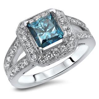 Noori 18k White Gold 1 2/5ct TDW Princess-cut Blue Diamond Engagement Ring (F-G, SI1-SI2)