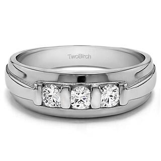 Charles Colvard Sterling Silver Men's 2/5ct TGW Moissanite Wedding Ring