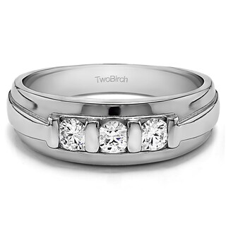TwoBirch Sterling Silver Men's Wedding Ring with Created Moissanite (0.2, Cts)