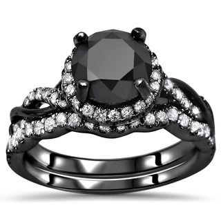 14k Black Gold 2ct TDW Black And White Diamond Halo Knot Bridal Ring Set