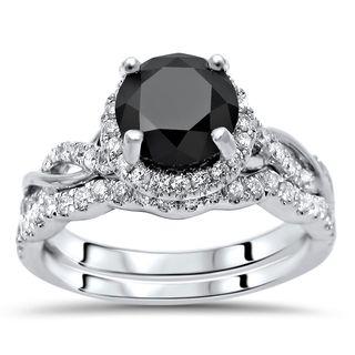 Noori 14k Gold 2ct TDW Black Round Diamond Halo Knot Engagement Ring Set